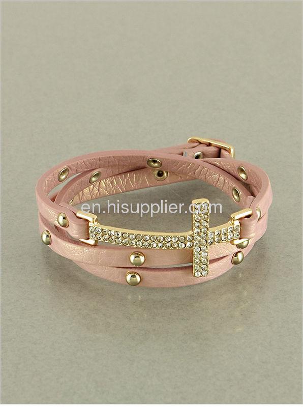 Sideways Cross Bracelet Leather Sideways Cross Bracelets