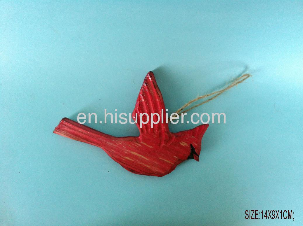 wooden carved red bird