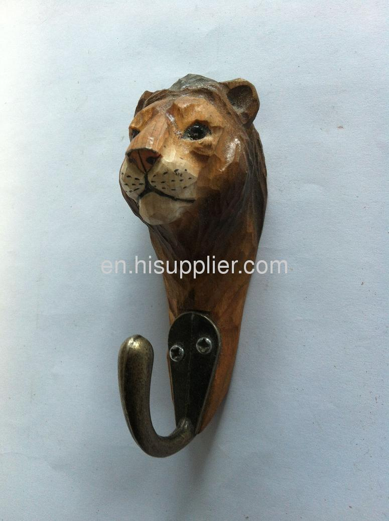 wooden carved lion hook