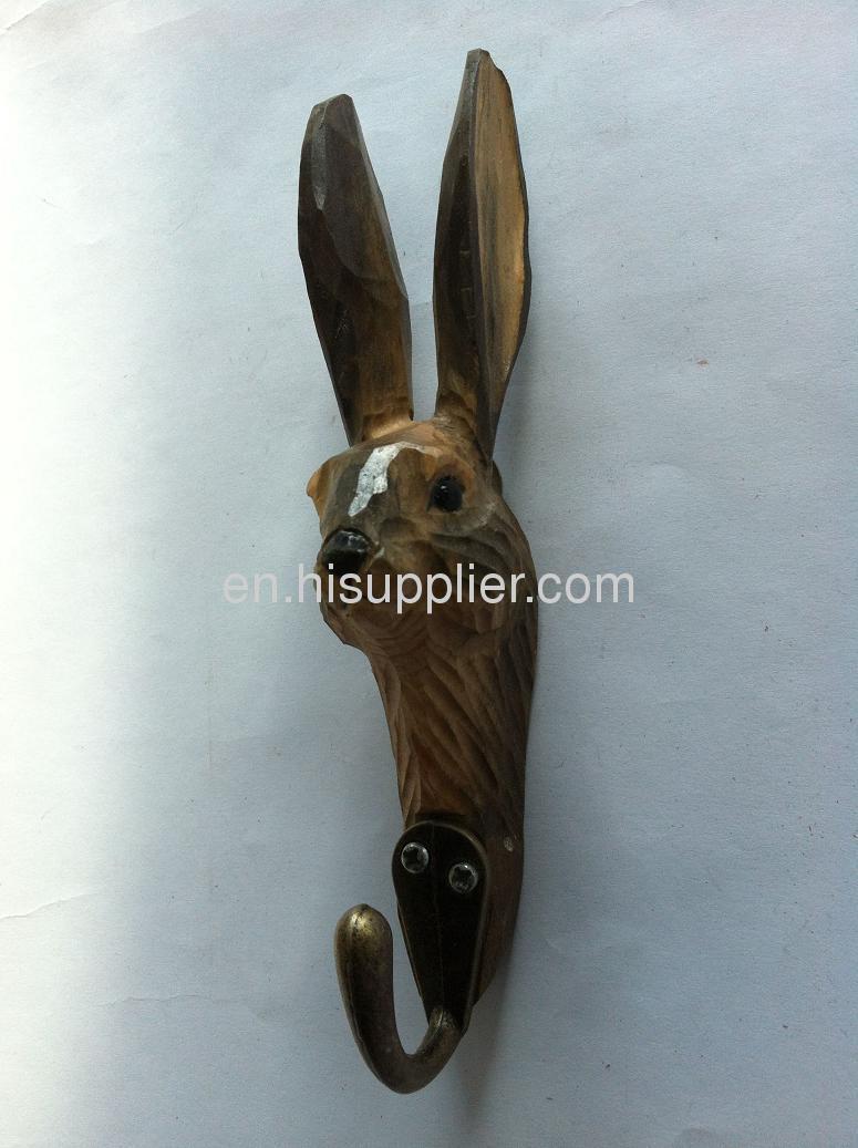 wooden carved rabbit hook