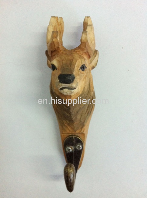 wooden carved deer hook