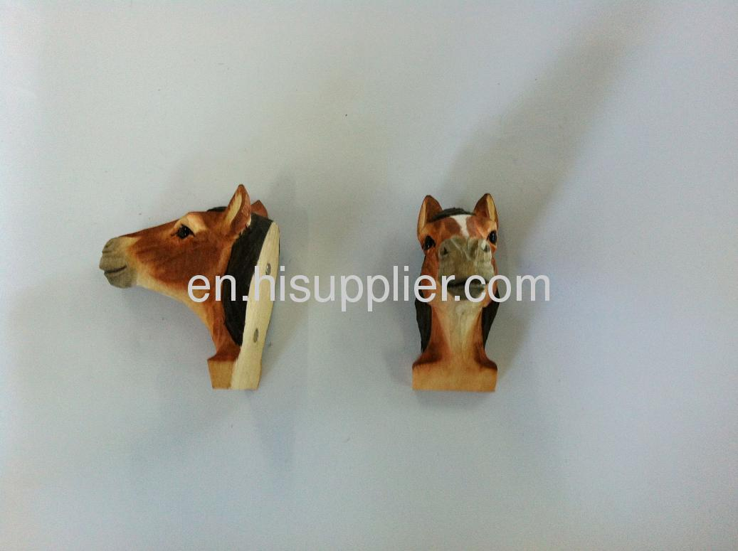 wooden carved horse shape frige magnet