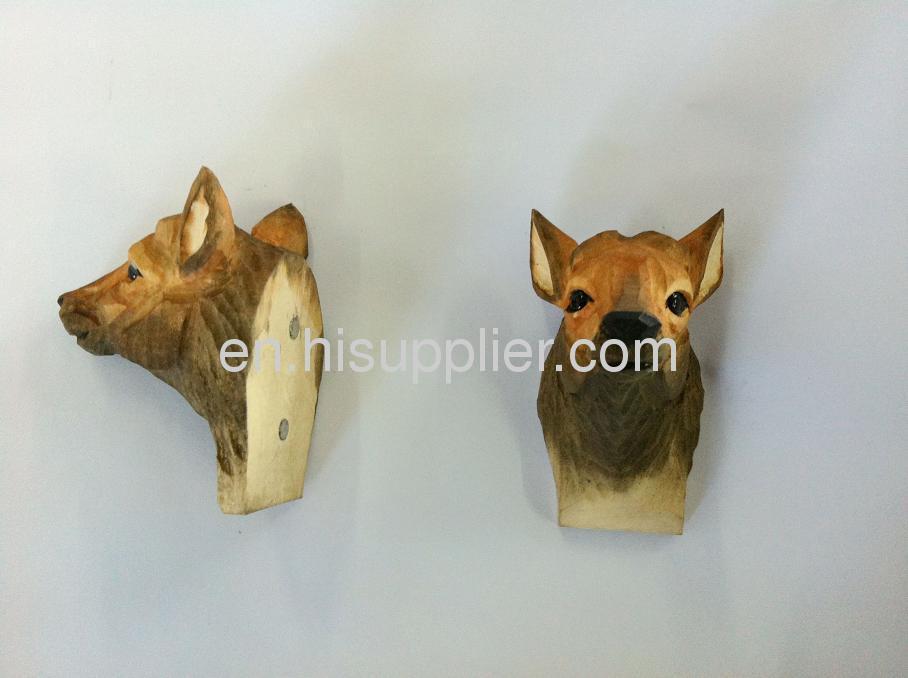 wooden carved reindeer shape fridge magnet