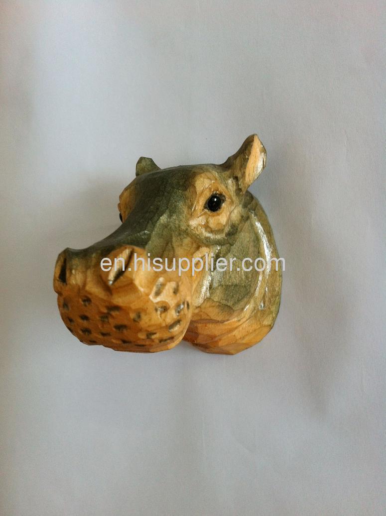 wooden carving hippo shape fridge magnet
