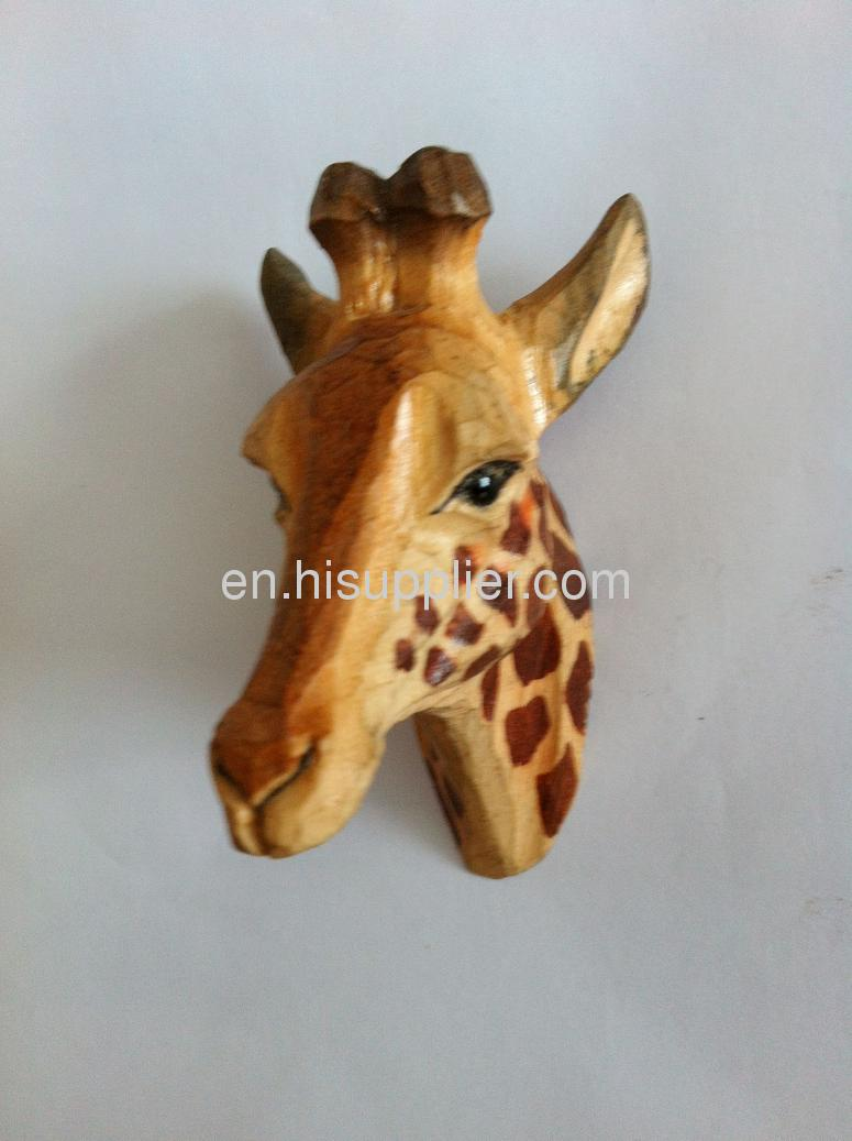 wooden carved giraffe shape frige magnet