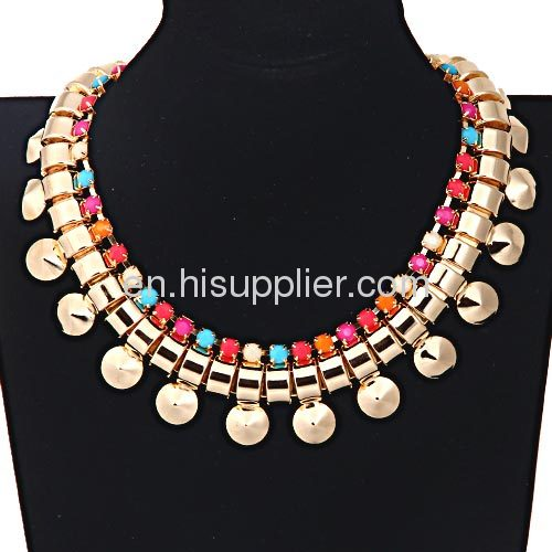 Resin Beads Bib Flat Chunky Snake Chain Necklace For Women