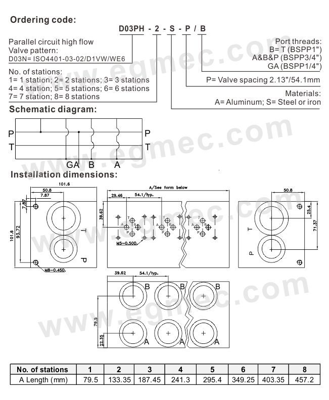NFPA Pattern D03 Parallel Circuit High Flow Rexroth Bar Manifold
