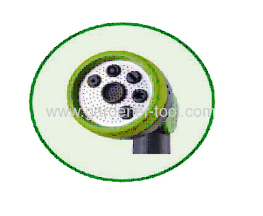 Mini 7-dial function sprinkler wand nozzle with soft plastic hand and aluminium head cup
