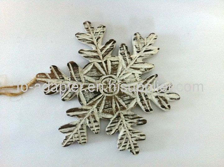 wooden carved snow flake