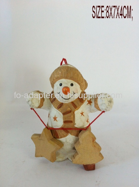 handmade wooden carved snow man