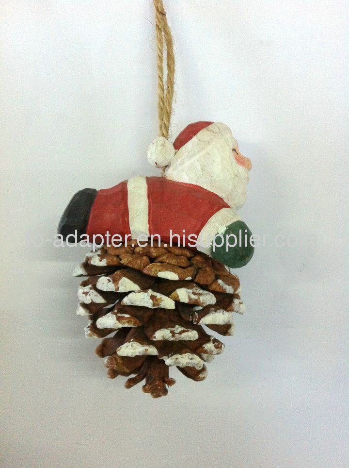 santa clause wood carved ornament pinecone