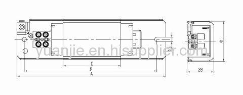 36W copper wire magnetic ballast for T8 fluorescent lamp