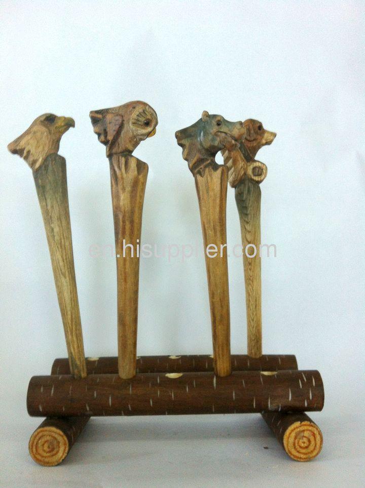 handamade wooden carvinganimal ball pen