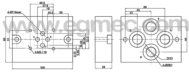 G342 /01 G3/8in. Rexroth Subplate ISO4401 Pattern