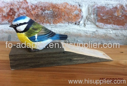 wood carving bird door stop