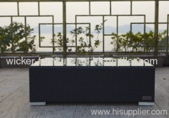 Patio rattan big tea table with 5mm tempered glass
