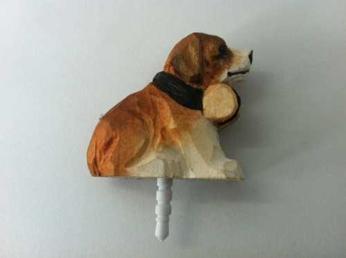 wooden carving dog dustproof plug