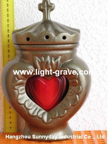 Ceramic grave light,Ceramic Memorial Candle,Ceramic christian light
