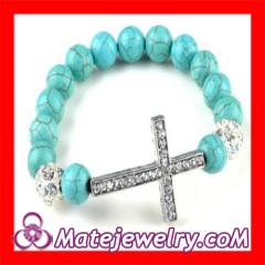 Turquoise Crystal Sideways Cross Bracelet