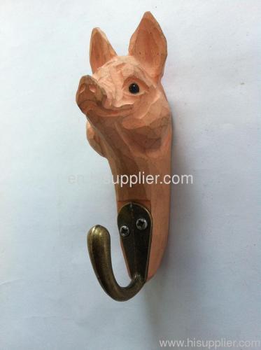Basswood Carved Hook pig head shape