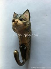handmade basswood decorative cat hook