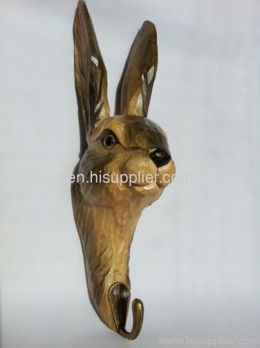 cute gray rabbit handmade carved hook
