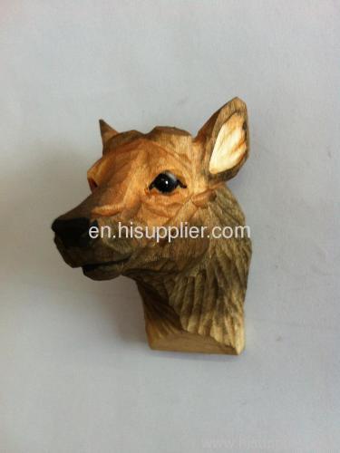 wooden carved animal magnet