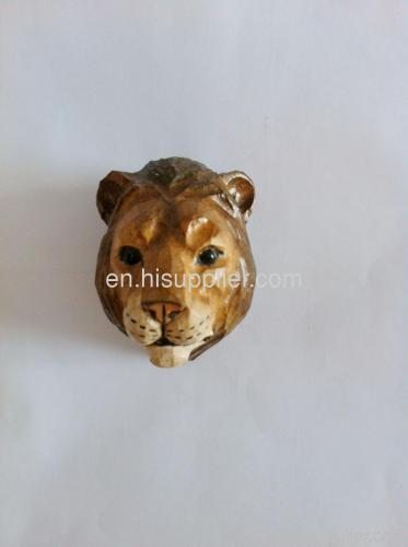 Handmadede Wooden Carved Lion Shape Fridge Magnet