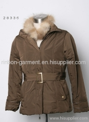 BROWN JACKET WITH A DETACHABLE FUR COLLAR.