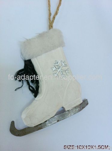 wood carved christmas white boot