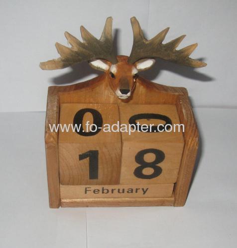 Wooden Perpetual Calendar Animal carve