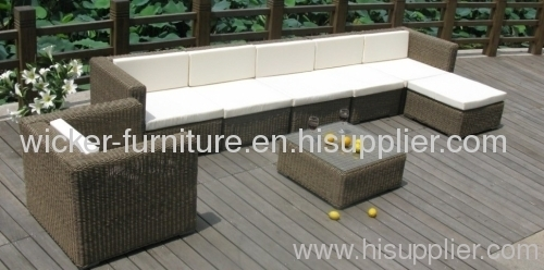Outdoor wicker furniture round rattan sectional sofa