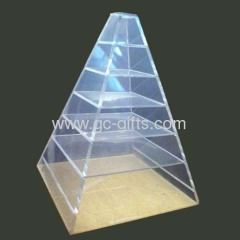 Pyramid-shaped 7-lyer countertop acrylic showcase