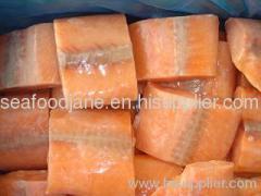 Frozen chum salmon portions fillets