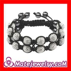 2 Row Czech Crystal Shamballa Bracelets