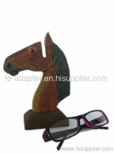 horse wooden carving eyeglasses holder