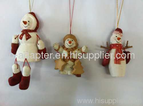 wood carving christmas snow man tree hanging decoration