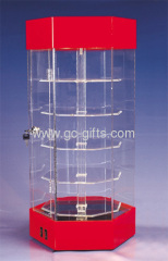 Rotary countertop acrylic display cases with 5 shelves