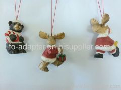wood carving santa moose hanging ornament