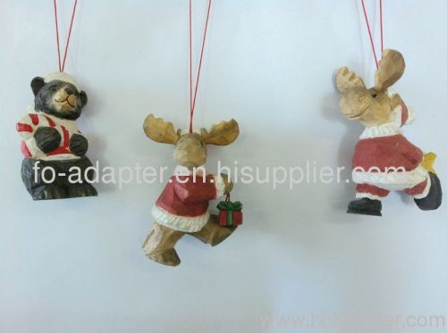 wood carving santa moose hanging ornament