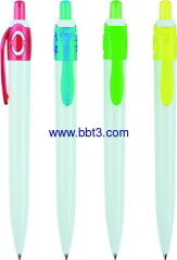 Plastic promotional ballpoint pen with color accessories