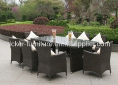 Outdoor wicker dining table with chairs