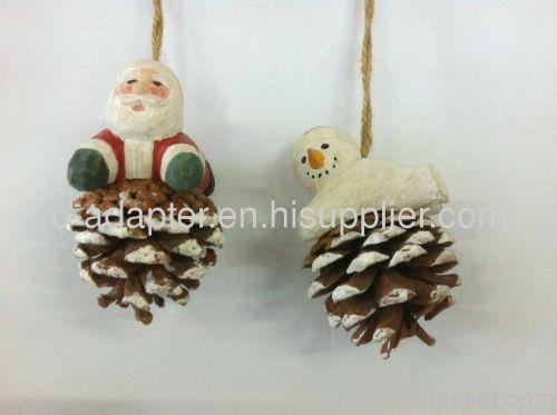 santa clause wood carving haing pinecone