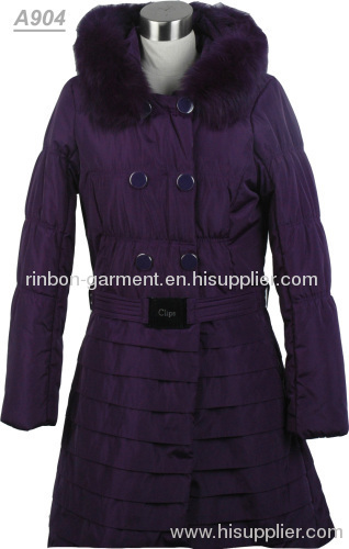 Purple Winter Long Coat With Fur Collar From China Manufacturer
