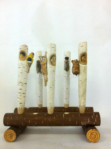 wooden craft animal ball pen