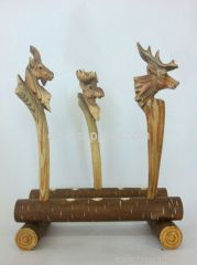 wooden carft animal ball pen