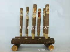 100%wooden carving animal ball pen