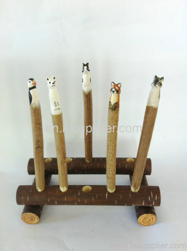 handmade animal carved ball pen