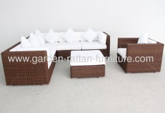 Outdoor rattan garden furniture pation sofa set round wicker