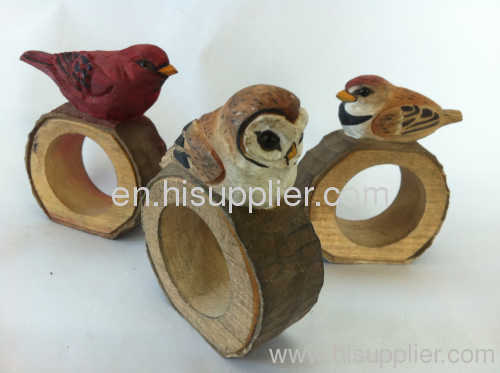 handcraft wooden animal napkin ring